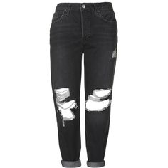 TOPSHOP MOTO Black Ripped Hayden Jeans (36800 PYG) ❤ liked on Polyvore featuring jeans, pants, bottoms, trousers, black, distressed boyfriend jeans, ripped jeans, distressed jeans, low-rise boyfriend jeans and destructed jeans