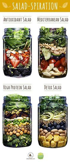 "30 Mason Jar Salad Recipes: A Month Worth of ""Salad in a Jar"" Recipes - Healthy Food Mason Jar Meals, Meals In A Jar, Mason Jars, Mason Jar Recipes, Mason Jar Lunch, Pot Mason, Salad In A Jar, Soup And Salad, Salad Bar"