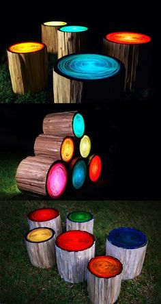 My daughter would swoon over these. Hollowed out logs with colored florescent lamps to give each ring pattern a beautiful glow { furniture }    Via http://dornob.com/stump-seats-light-up-log-stools-turn-colorful-at-night/