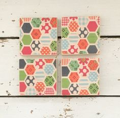 Retro Style Coasters Wooden Coasters Coaster Set by SCWVintage