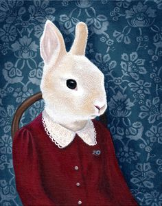 Mrs Rabbit  Giclee print of original painting by oneblacksheep, $30.00