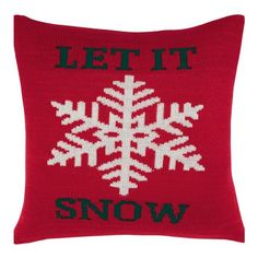 Peacock Blue Barton 'Let It Snow' Knitted Cushion, Red