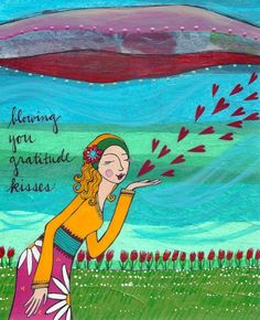 """Gratitude Kisses"" Thank you for being here and reading my pins and connecting and believing in the power of saying ""YES"" in this crazy, awesome roller coaster of a life. :: Gratitude Kisses by LoriPortka on Etsy Grateful For You, Grateful Heart, Gratitude Quotes, Attitude Of Gratitude, Practice Gratitude, Illustrations, Law Of Attraction, Birthday Wishes, Birthday Greetings"
