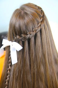 Waterfall Braid HAIR Hair Styles Cool Hairstyles For Girls - hairstyles for school dances unique hairstyles for school Cool Hairstyles For Girls, Cute Braided Hairstyles, Super Cute Hairstyles, Dance Hairstyles, Hairstyles For School, Easy Hairstyle, Beautiful Hairstyles, Braided Updo, Straight Hairstyles