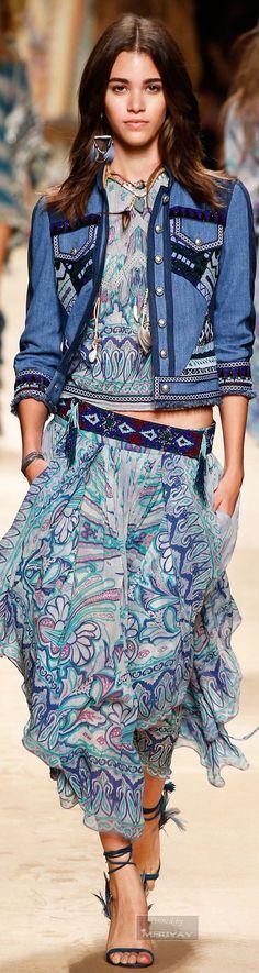 As Jaquetas Jeans também estão de volt: Etro.Spring 2015 / Burberry Prorsum  2015 – Jeans do Verão 2016////////ESTAMPAS ÉTNICAS++DENIM++BORDADOS