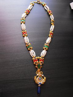 Long Queen Elizabeth I Gold Pearl Jeweled Necklace