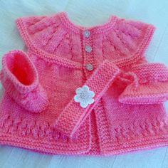 Baby sweater set headband and booties Handknit baby by JaminaRose