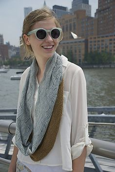 Cabled cowl knitting pattern. Typha by Kristen Kapur knit by knitgal28 using The Fibre Co. Meadow in Larkspur and Aster