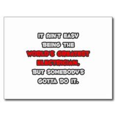 World's Greatest Electrician Joke Post Cards