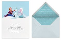 New handpainted Disney invitations from Paperless Post: Great Frozen Party invitations!