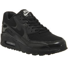 Nike Air Max 90 (w) (7,215 PHP) ❤ liked on Polyvore featuring shoes, black black metallic silver, hers trainers, trainers, black mesh shoes, strappy shoes, nike, nike footwear und mesh shoes
