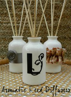 Make Your Own Aromatic Reed Diffusers!  Love this idea.. I can choose my own scents.. Most of the store bought ones smell funky to me anyway.