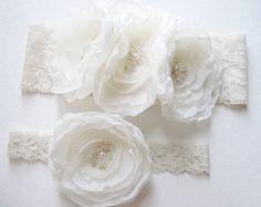 WEDDING GARTER SET Beautiful Ivory Lace Bridal by DemureAllure, $42.00