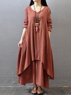 ff3083431f6 Casual Asymmetric Long Sleeve Plus Size Maxi Linen Dress