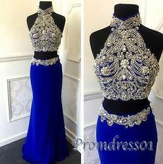 Ball gown, unique beaded navy blue chiffon two pieces occasion dress, prom dress…
