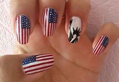 American Flag & Statue of Liberty Nails fashion nails nail polish patriotic red white blue 4th of july nail art manicure mani