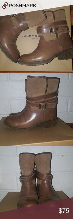 "T-GIVING SALE 💥EUC w/ box Lucky Brand Boots👢 A wrap-around leather belt styles a Western-inspired boot featuring a multitextured upper and rounded toe for modern appeal.  1 1/2"" heel; 7 1/2"" boot shaft.Pull-on style.Leather upper/faux fur lining/synthetic sole.By Lucky Brand; imported Lucky Brand Shoes Ankle Boots & Booties"