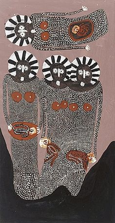 Jack Dale - Wandjinas (Baby Dreaming) 2006 via Aboriginal Painting, Aboriginal Artists, Dot Painting, Australian Painters, Australian Art, Aboriginal Culture, Art Premier, Wow Art, Indigenous Art