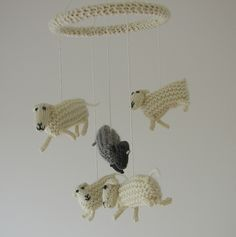 Counting Sheep Mobile by Hand Knitted Things, via Flickr