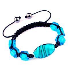45mm Sky Blue Nylon Lampwork Hematite Bracelets Jewelry Gift