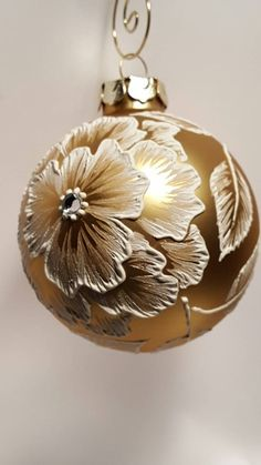 Hand-painted blown glass ornament brush embroidery textured floral golden peonies by SaltRiverFancies on Etsy