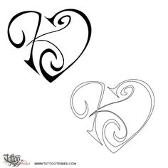 Tatuaggio di Cuore con K+J, Unione, affetto tattoo - custom tattoo designs on TattooTribes.com