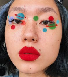 welcome 2 my little universe 🌎 solar system make up 💕Festival Face Eye Makeup Art, Cute Makeup, Pretty Makeup, Skin Makeup, Beauty Makeup, Red Makeup, Airbrush Makeup, Eyeshadow Makeup, Makeup Goals