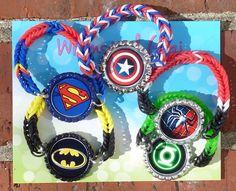 Super Hero party Favor rainbow loom  Bracelet set of 5 by WhimsicalGigi on Etsy https://www.etsy.com/listing/179761181/super-hero-party-favor-rainbow-loom