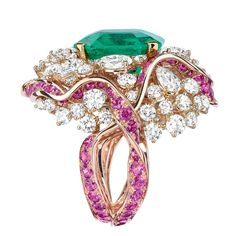 Dior ring with diamonds, pink sapphires and emerald from the new Soie Dior high jewellery collection.