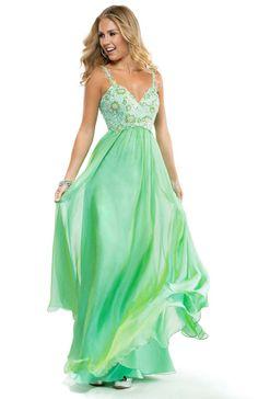 Jade chiffon prom dress with a floral lace bodice | Flirt Prom #prom #flirtprom #green #stpatricksday