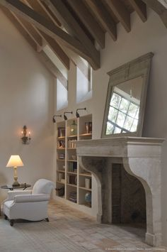 Murphy Mears Architects - French fireplace and beams Fireplace Surrounds, Fireplace Design, Fireplace Mantel, Fireplace Lighting, Mirror Over Fireplace, Beach Fireplace, Fireplace Makeovers, Shelves Lighting, Cottage Fireplace