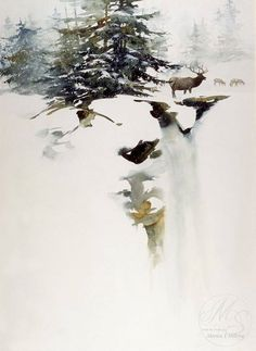 Watercolor by Morten E Solberg Sr , beautiful winter , from Iryna