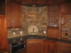 Kitchen Sage Green Kitchen Cabinets Teak Wood Tile Granite - Kitchen stone backsplash ideas