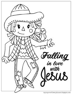 Coloring Pages for Fall Scarecrow falling in love with Jesus coloring page Coloring Pages for Fall S Jesus Coloring Pages, Preschool Coloring Pages, Preschool Bible, Fall Preschool, Preschool Learning, Free Coloring, Sunday School Activities, Sunday School Lessons, Sunday School Crafts