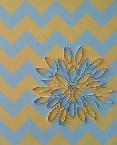 Yellow and Grey Chevron with 3D white floral design Acrylic painting