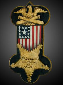 Arms, Armor, and Militaria | A Rare Carved & Painted Civil War Grand Army of the Republic (G.A.R.) Veterans Post Sign - The Curator's Eye