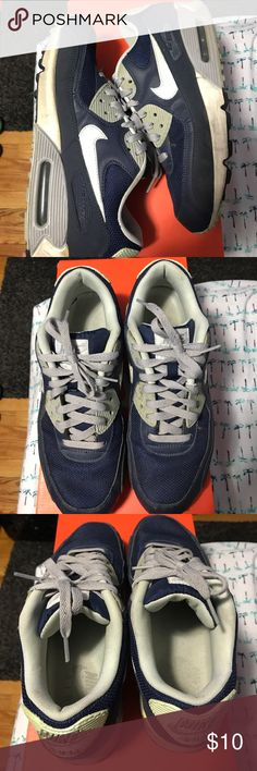 Nike air max 90 navy Worn, these are beaters, slight heel drag Nike Shoes Sneakers