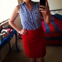 Teacher outfits blue white nautical stripe top red skirt but add black cardi