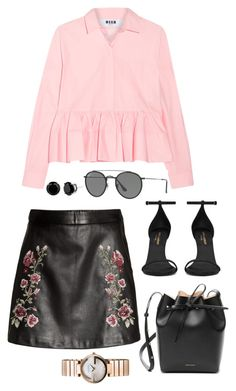 """""""Sin título #789"""" by bethsalash on Polyvore featuring moda, MSGM, Ray-Ban, Yves Saint Laurent, Mansur Gavriel y Gucci"""