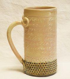 ceramic script coffee mug 20oz stoneware 20A095 by desertNOVA, $22.00