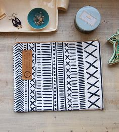 Geometric Canvas Clutch – Extra Large by 1606 on Scoutmob Shoppe. Keep your coins, credit cards, and cosmetics all in one over-sized zippered clutch.