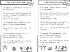 Atelier résolution de problèmes (cycle 3) 3 niveaux de difficulté - la classe de stefany Cycle 3, School Organisation, Math Quotes, 12th Maths, Bullying Prevention, French Immersion, Conflict Resolution, Home Schooling, Fractions