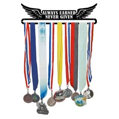 Black metal hanger measures 14 in. X 4 in. Holds up to 24 medals Medals are added by sliding them onto lower bar