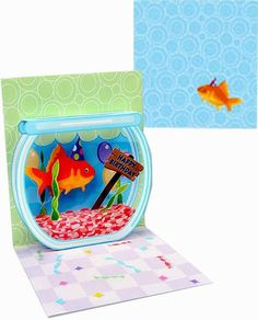 "Trinkets 3D Mini Pop-Up Card - Gift Enclosure, Goldfish ""Happy Birthday""  3""x 3"""