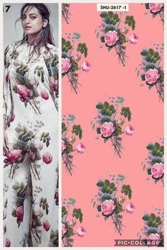 Pure Crepe Fabric at Rs Embroidery On Kurtis, Kurti Embroidery Design, Textile Patterns, Textile Prints, Fabric Design, Pattern Design, Textile Design, Botanical Prints, Floral Prints