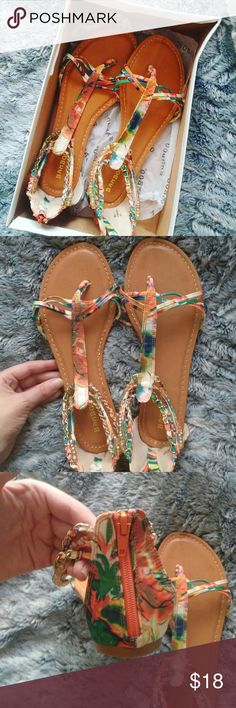 Tropical sandals (New with box) Orange tropical printed sandals never worn. Size 7.5 women. Box has some wear. bamboo Shoes Sandals