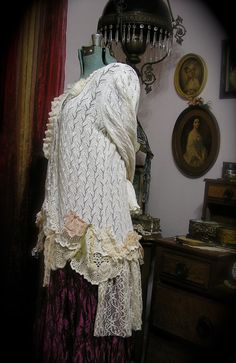 Shabby Doily Sweater creme tattered romantic by TatteredDelicates, $135.00