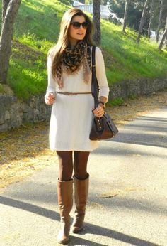 Love this outfit. The cable knit dress is very cute. The knit isn't too large. Sometimes a bigger knit makes me look bulky
