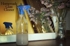 The Best Homemade Glass Cleaner Recipe  1 c. filtered, very hot water  1/2 Tbsp cornstarch  1/8 c. rubbing alcohol (at least 70% isopropyl, if not more)  1/8 c. white vinegar
