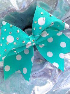 Tiffany Blue Polka Dot Cheer Bow with Crystal by Bowfriendz, $30.00